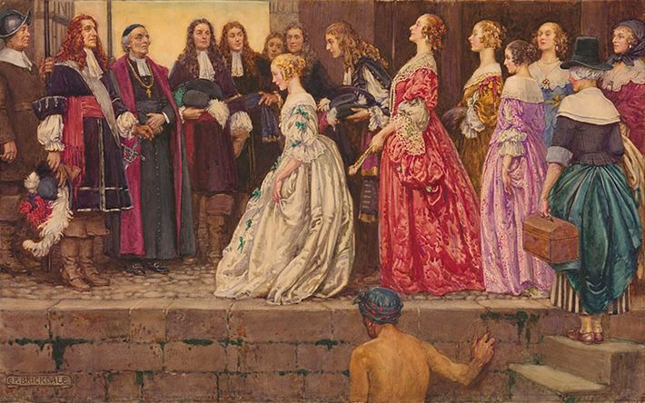Louis XIV recruited French women known as filles du roi, or daughters of the king, to ...