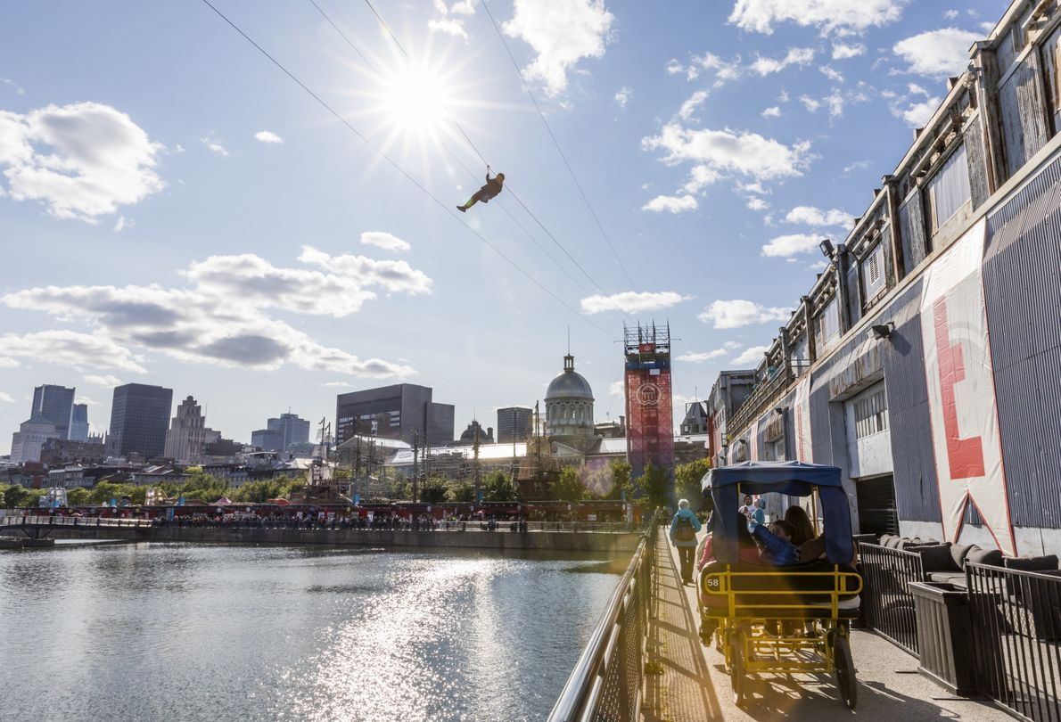 To get the best views of old and new Montreal, try urban zip-lining for a thrilling ...