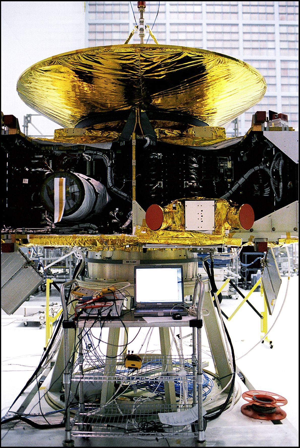 New Horizons stands in mid-assembly at NASA Goddard Space Flight Centre in Maryland. Two star trackers ...
