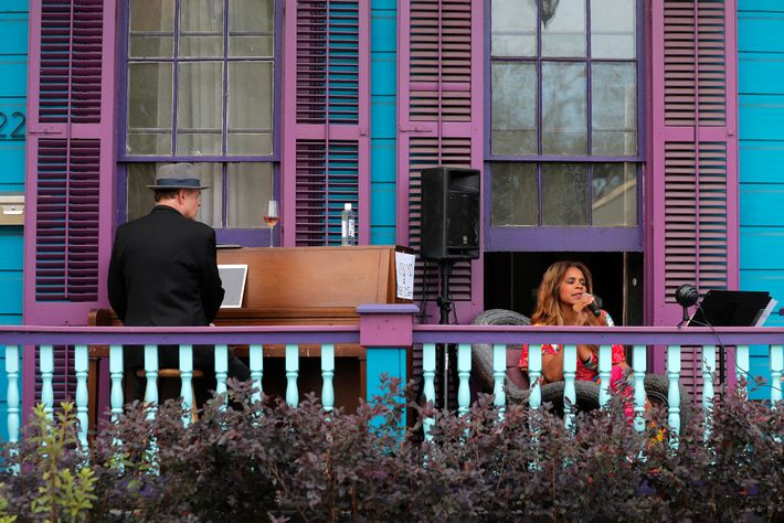 Jazz singer Anais St. John and pianist Harry Mayronne held a front porch concert at St. ...