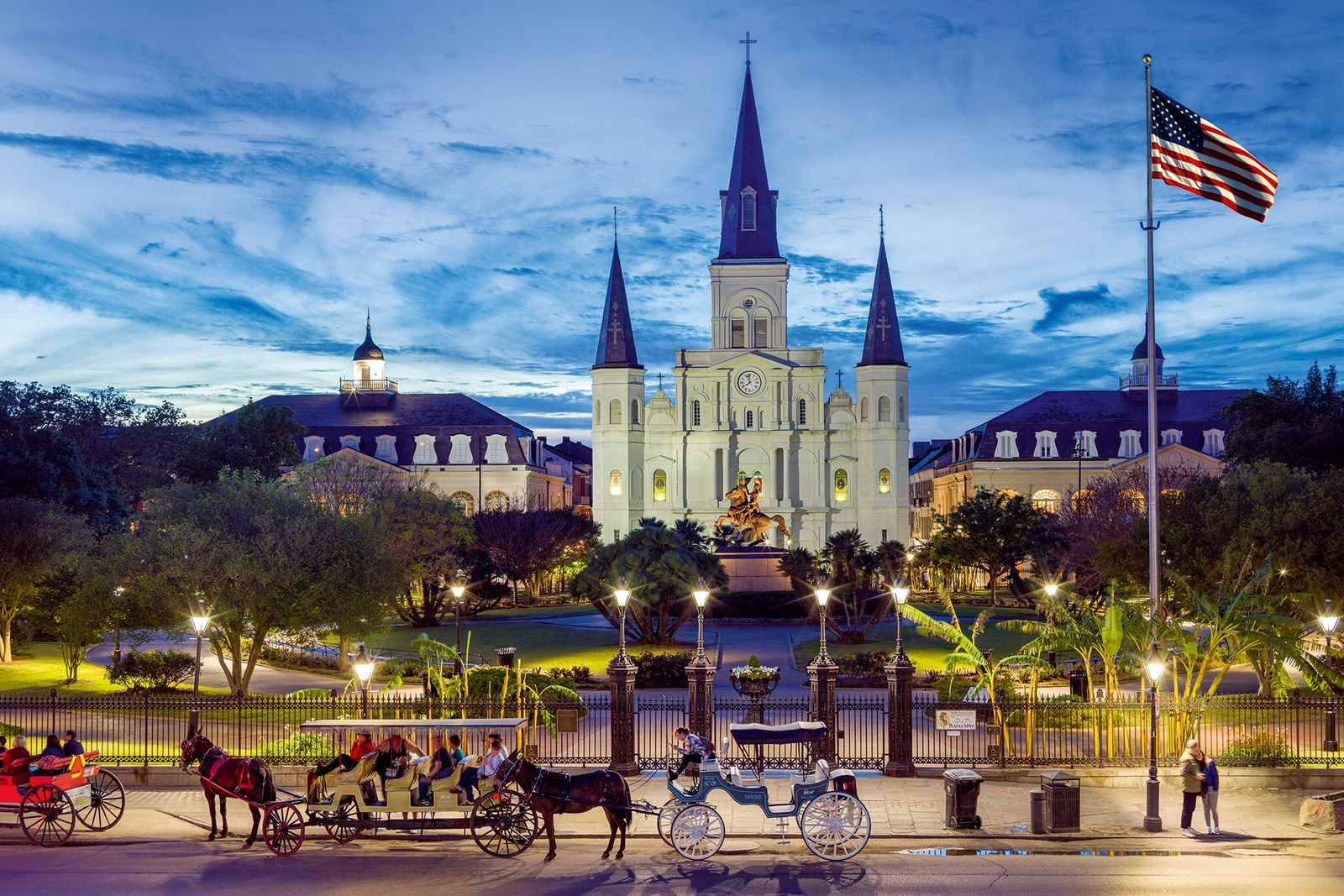 Saint Louis Cathedral in Jackson Square, French Quarter.