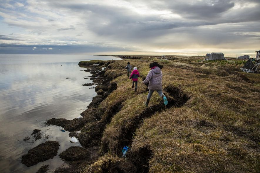 Erosion has already wiped out nearly a mile of Newtok's land, with thawing permafrost rapidly accelerating ...