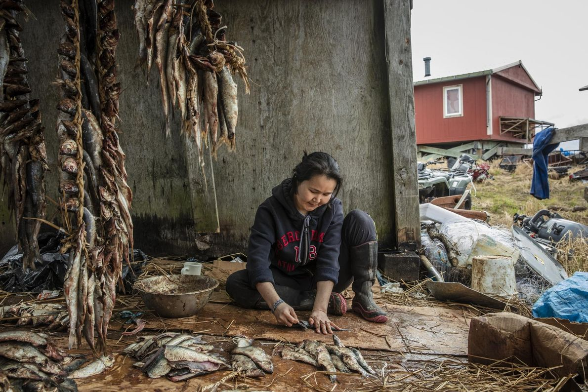 Andrea Andy cleans freshly caught river herring before drying the fish out in the sun.