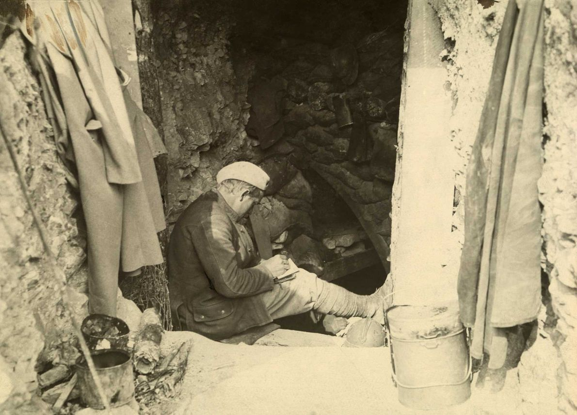 Sitting patiently in a French trench, an American WWI soldier pens a letter home.