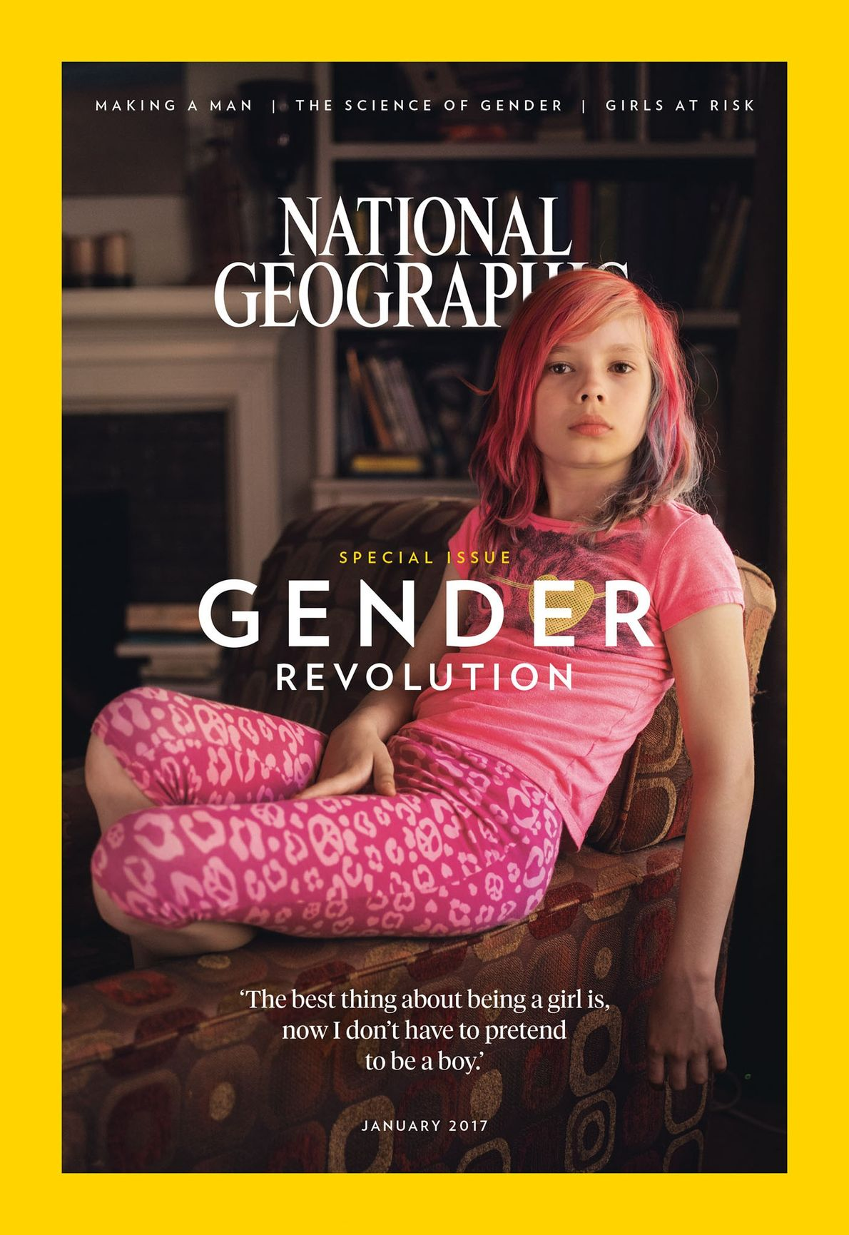 January 2017: Avery Jackson, age nine, was the first transgender female on the cover.