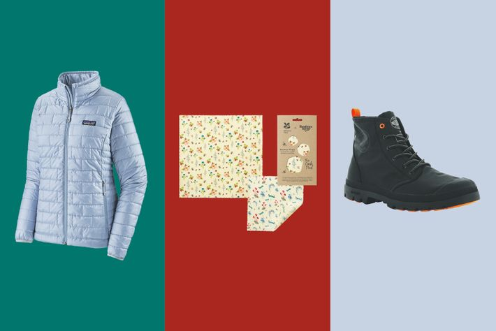 Patagonia Nano Puff jacket;The Beeswax Wrap Co. National Trust wax wraps;Palladium x Finisterre Pallafin Recycle boots.