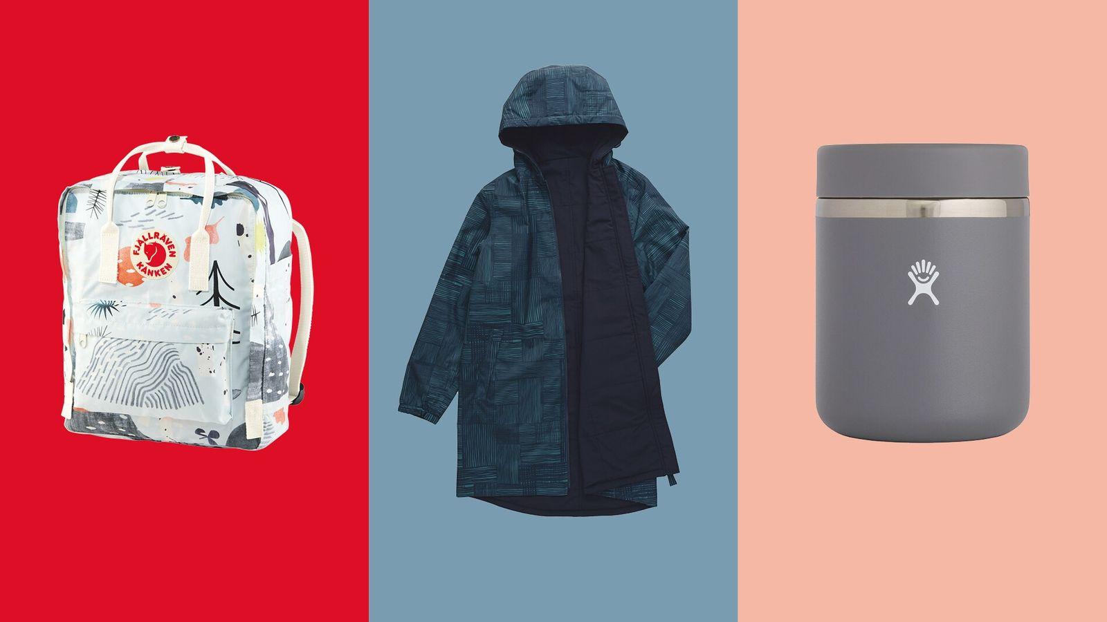 Kånken Art Save The Arctic Fox backpack;Seasalt Cornwall Turning Tide coat;Hydro Flask Insulated Food Jar.