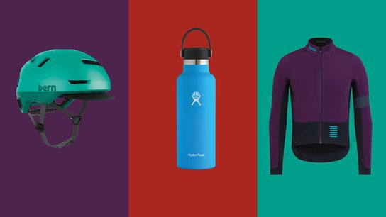 Bern Hudson MIPS bike helmet; Hydro Flask Standard Mouth (532ml); Rapha Pro Team winter jacket.