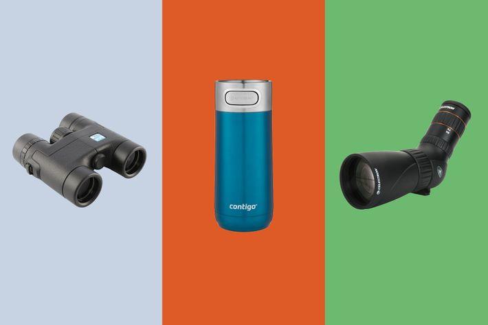 RSPB Puffin Compact Binoculars; Contigo Autoseal Luxe Travel Mug; Celestron Hummingbird 9-27X56 Ed Scope.