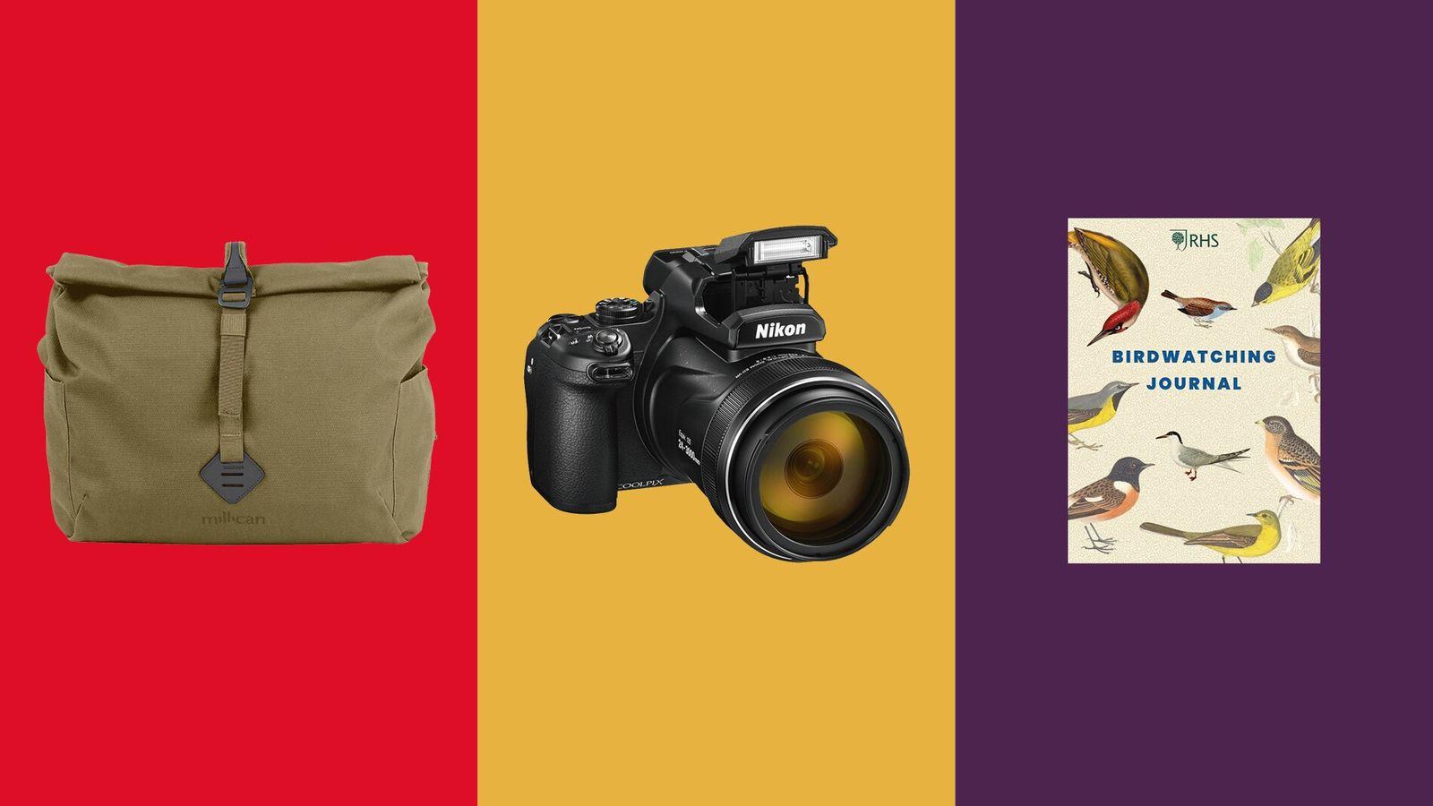 Millican Bowden The Camera Messenger Bag; Nikon Coolpix P1000; RHS Birdwatching Journal.