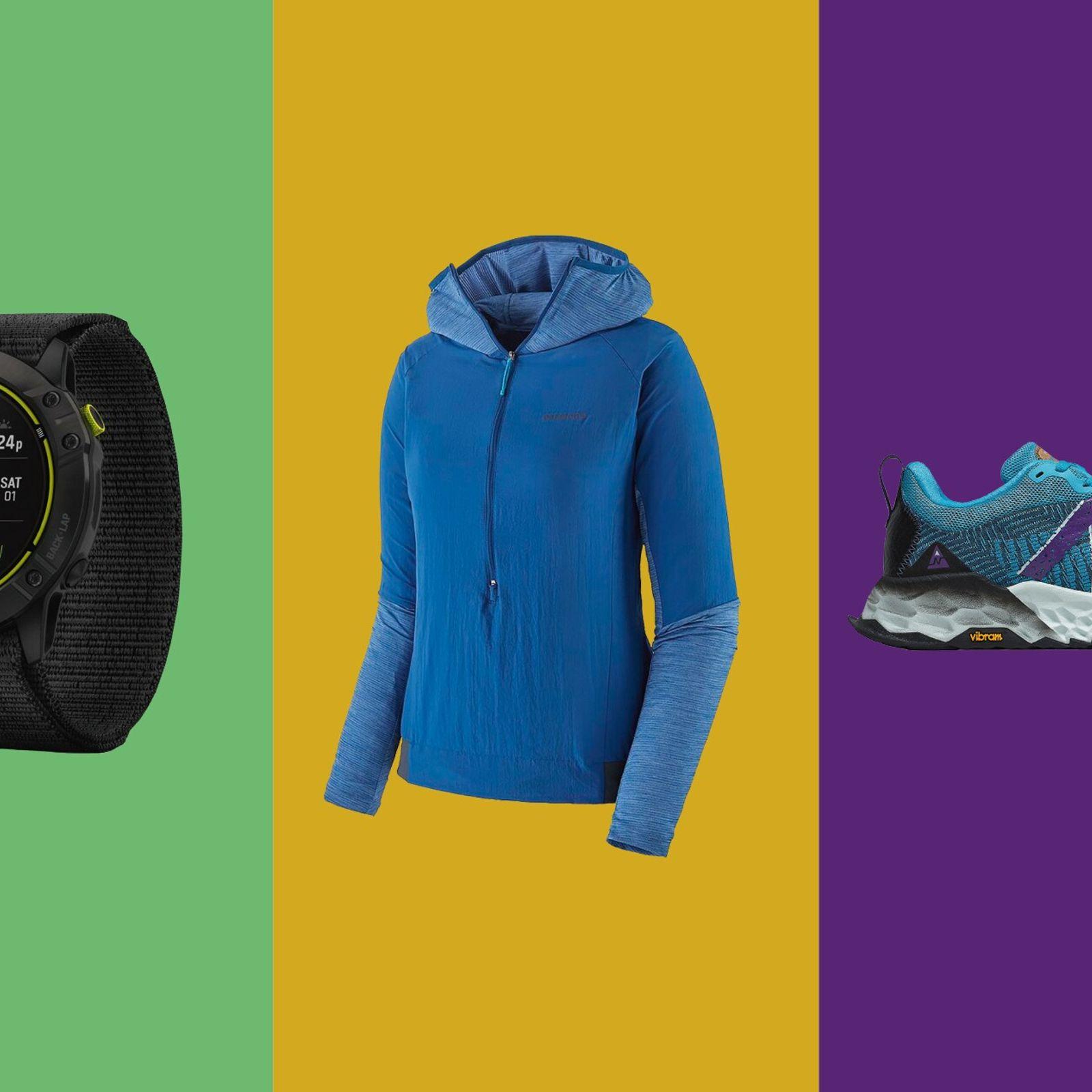 Left to right: Garmin Enduro GPS Multisport Watch, Patagonia Airshed Pro Pullover, New Balance Fresh Foam Hierro v6.
