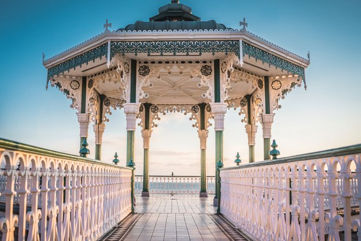 A Victorian bandstand in Brighton, a city offering top vegan fare and avant-garde art.