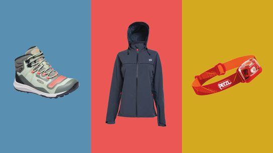 Left to right: Keen Tempo Flex Boots, Red Original Waterproof Active Jacket, Petzl Tikkina Headlamp.