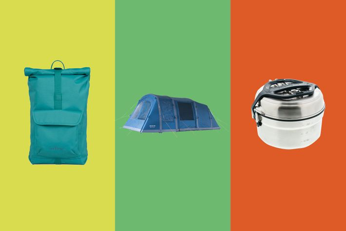 Left to right: Millican The Core Roll Pack 15L, Vango Joro Air 450, Decathlon MH500 Cookware Set.