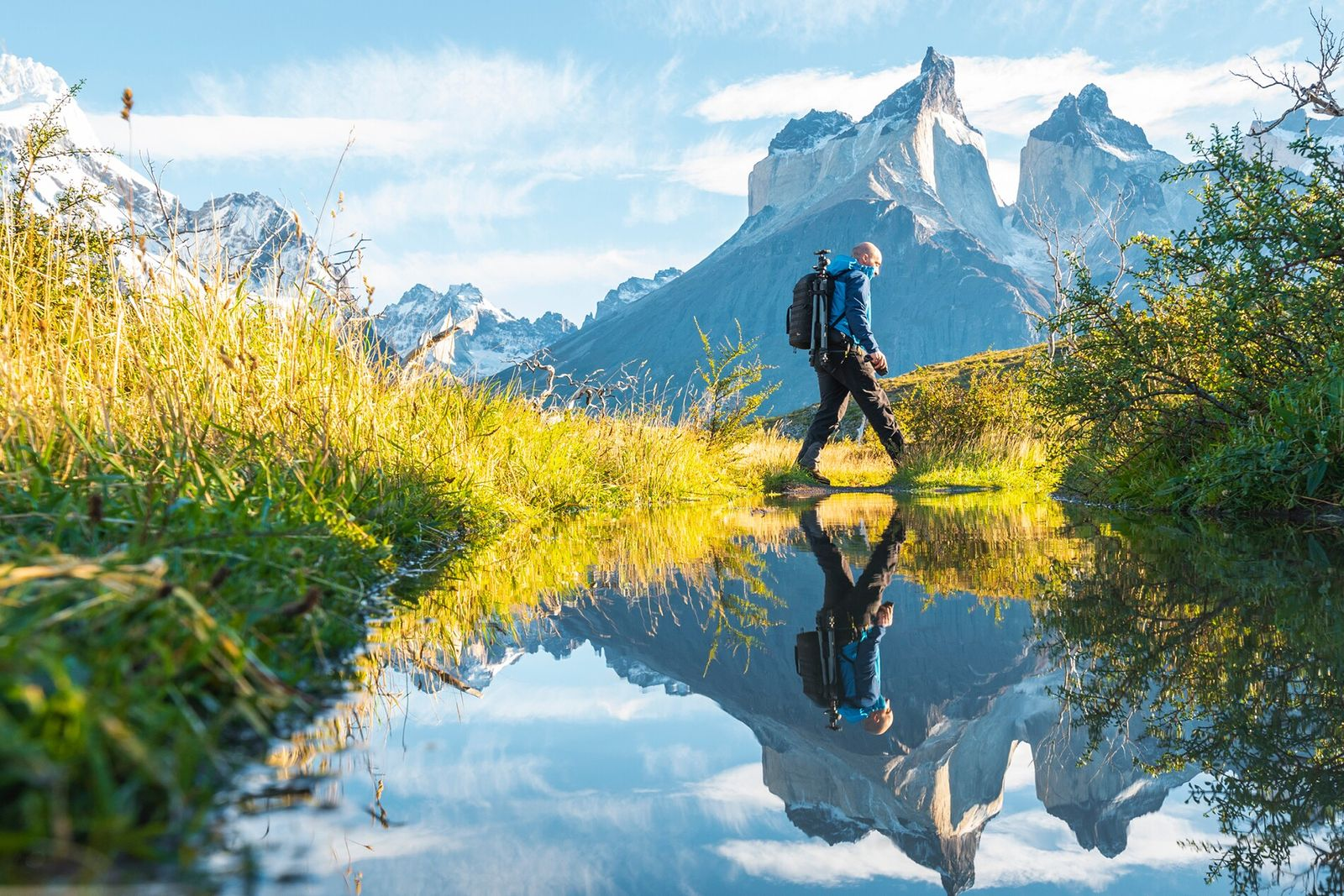 Hiking in Torres del Paine National Park, southern Patgonia, Chile.