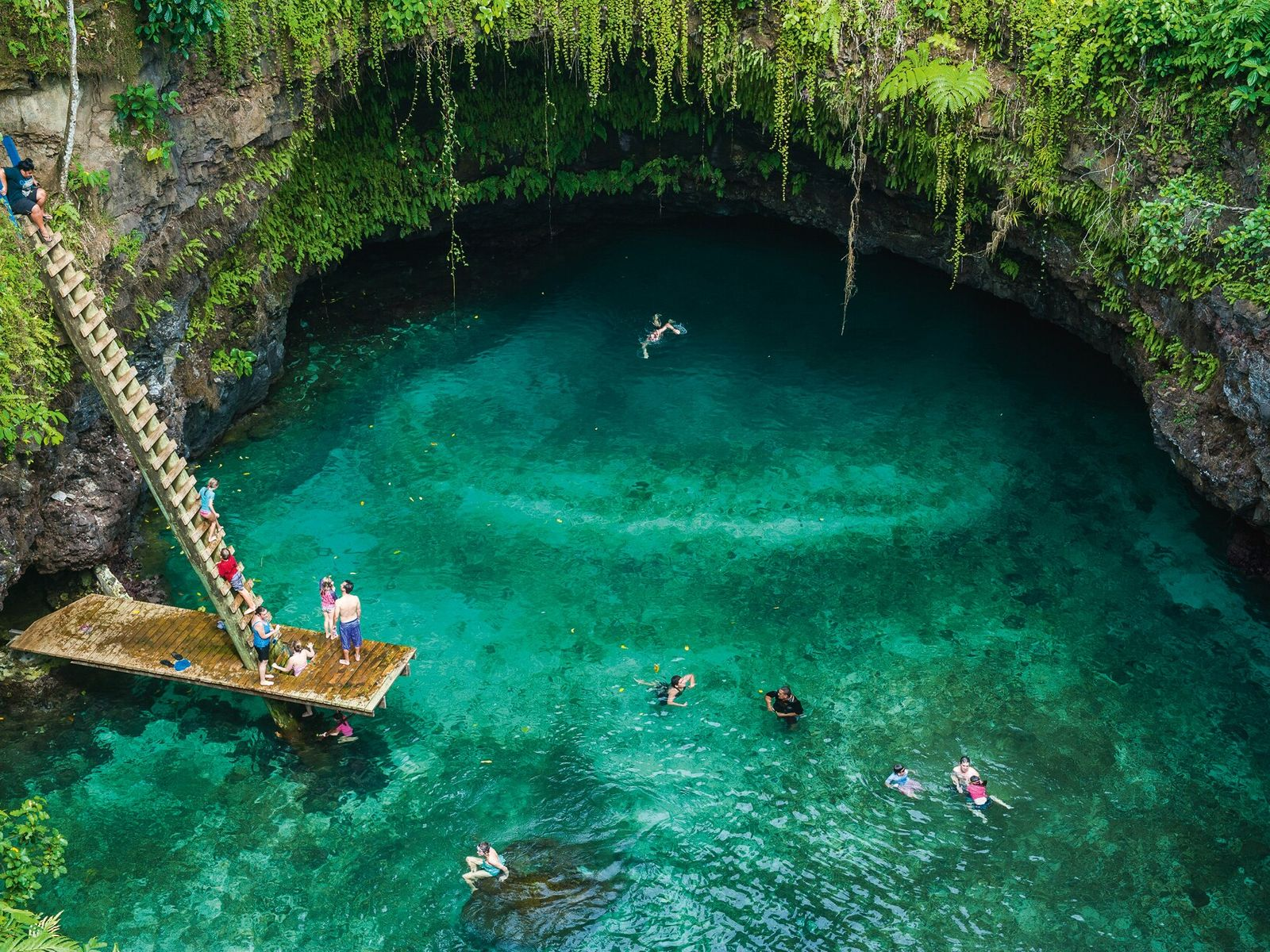 How about testingyour nerve with a 100ft plunge into the To-Sua Ocean Trench on the island ...