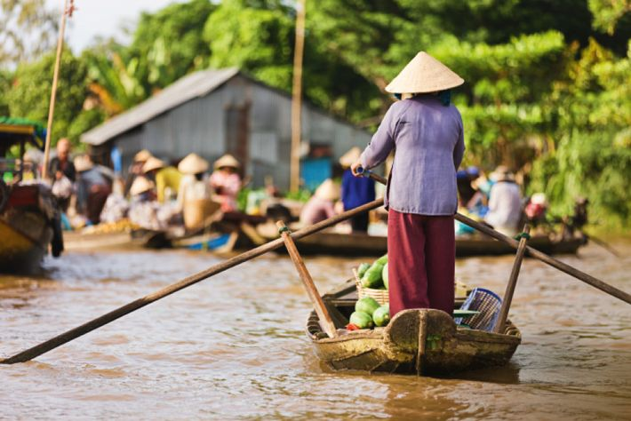 A fruit seller rows into a floating marketplace in the Mekong Delta region, Vietnam.