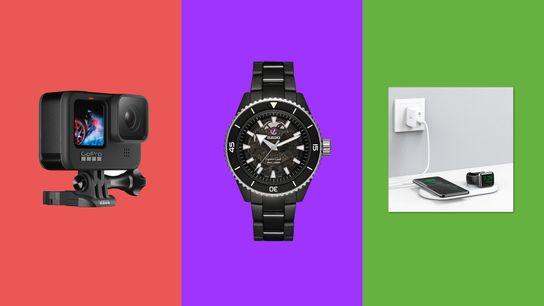 Left to right: Gopro Hero 9;RadoCaptain CookHigh-TechCeramic;Anker PowerWave & Watch Holder.