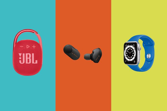 Left to right: JBL Clip 4; WF-1000XM3 Wireless Noise Cancelling Earbud Headphones; Apple Watch Series 6.