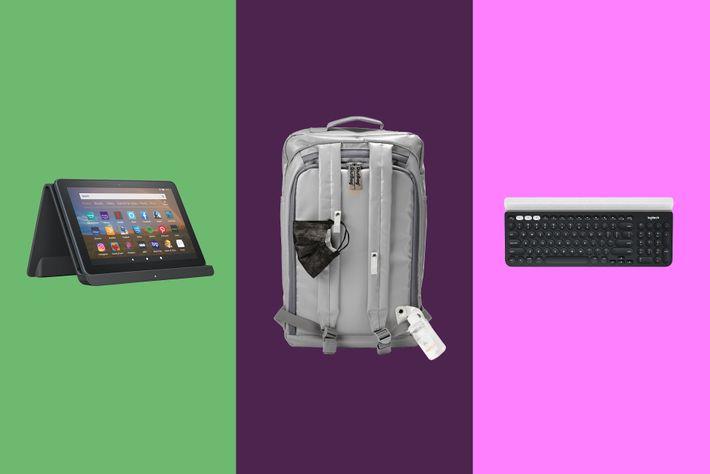 "Left to right:Amazon FireHD 8 Pkus– 32GB;Riut Easy-Clean 15"" LaptopBackpack;Logitech K780 Multi-Device Wireless Keyboard."