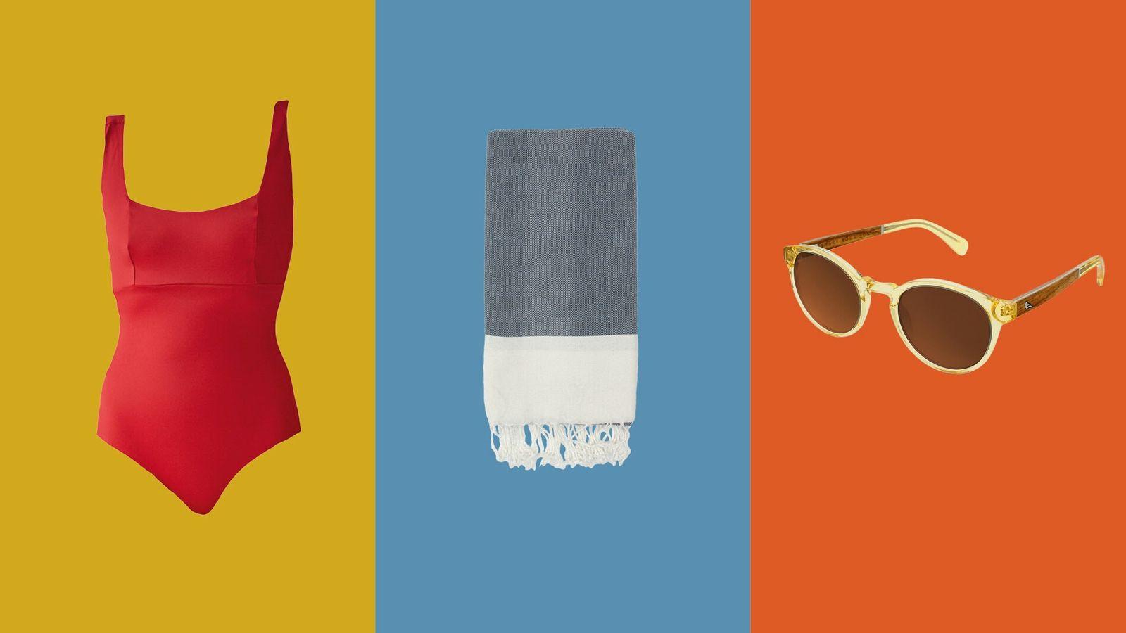 Left to right:Stay Wild Swim Thea Onepiece,Bohemia Design Arizona Hamman Towel,Bird Eyewear Kaka Honey.