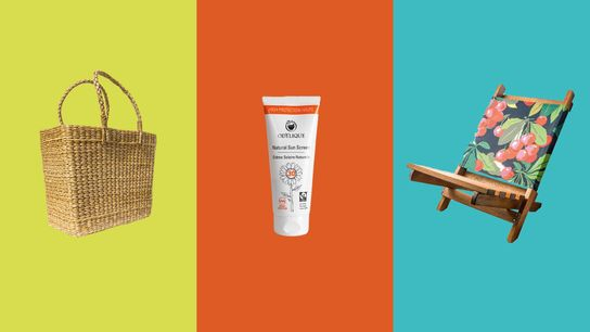 Left to right:Hastshilp Marlow Woven Bag,Odylique Natural Sun Screen,Denys & Fielding Stowaway Beach Chair.