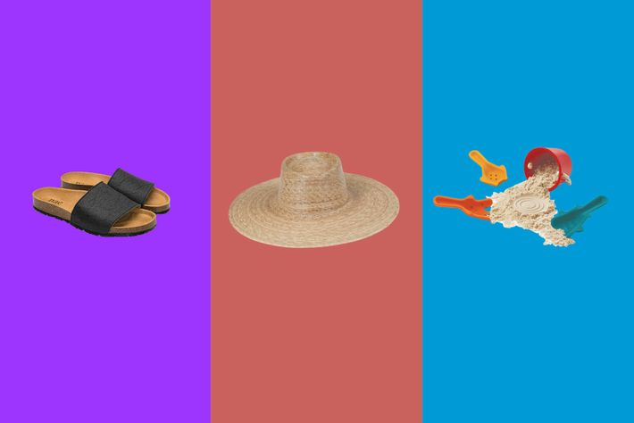 Left to right:Nae Bay black Piñateux Vegan Sandals,Lack of Color Palmer Wide Boater Hat,Plan Toys Sand ...