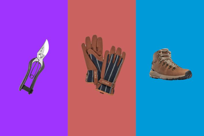 Left to right:Niwaki Tokusen 165mm Secateurs; Burgon & Ball Everyday Gloves; Danner Women's Mountain 600.