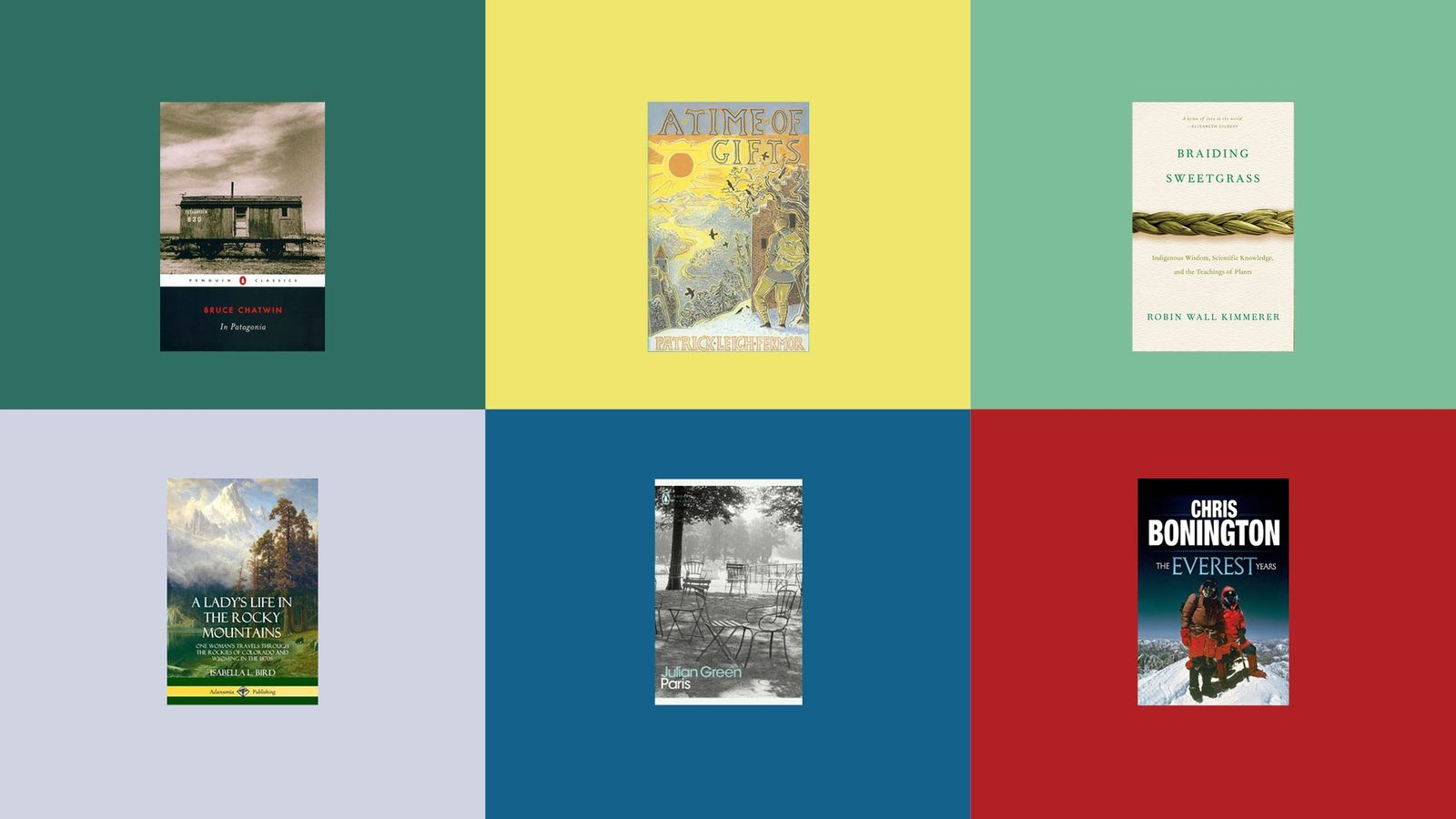 A patchwork of six book front covers.