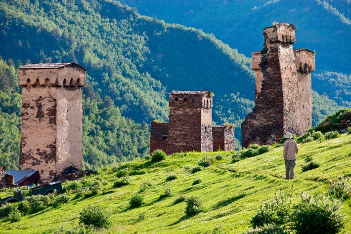 The medieval stone towers of Ushguli, Georgia, which doubled as both dwellings and defence posts.