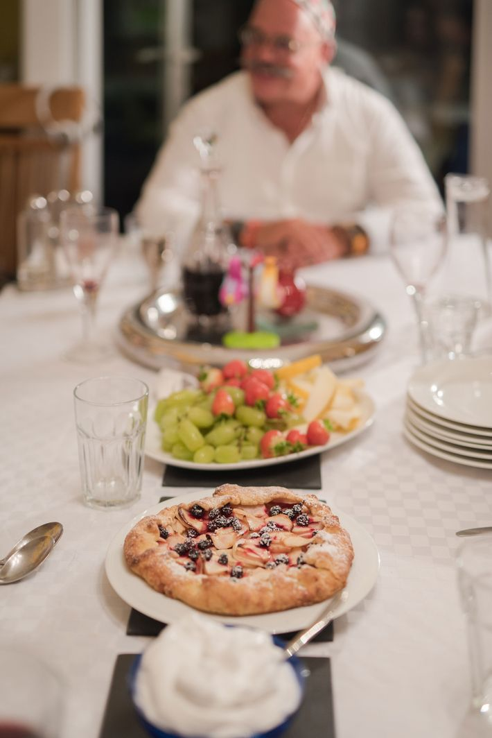 Among the desserts are a huge bowl of fresh fruit, and a blackberry and apple tart.