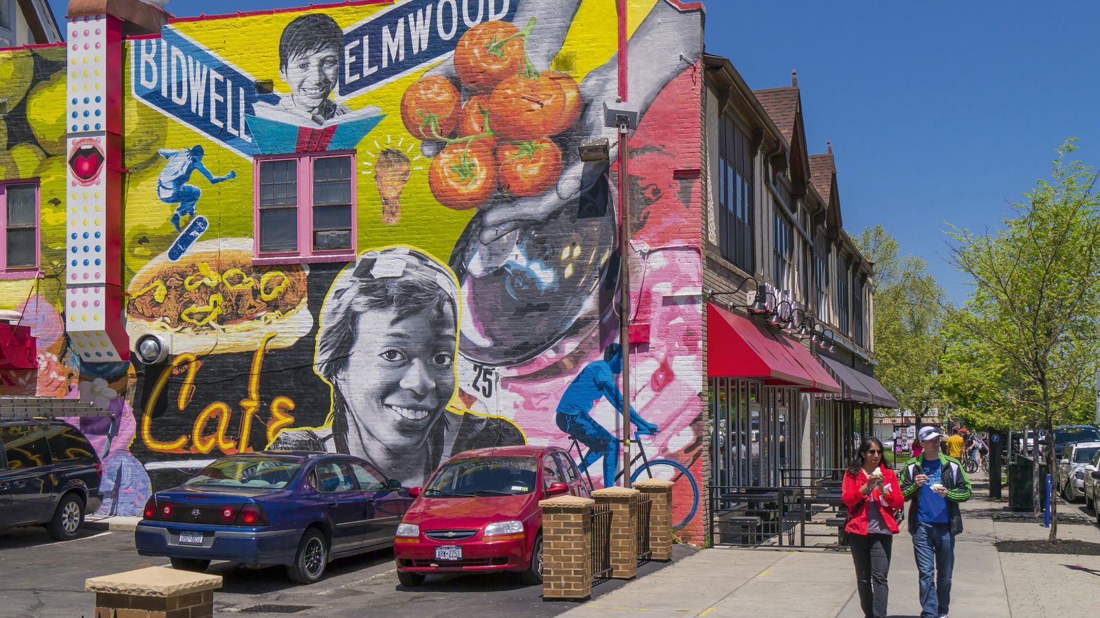 A colourful mural on Elmwood Avenue.
