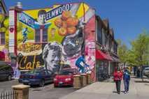 A colourful mural on Elmwood Avenue.