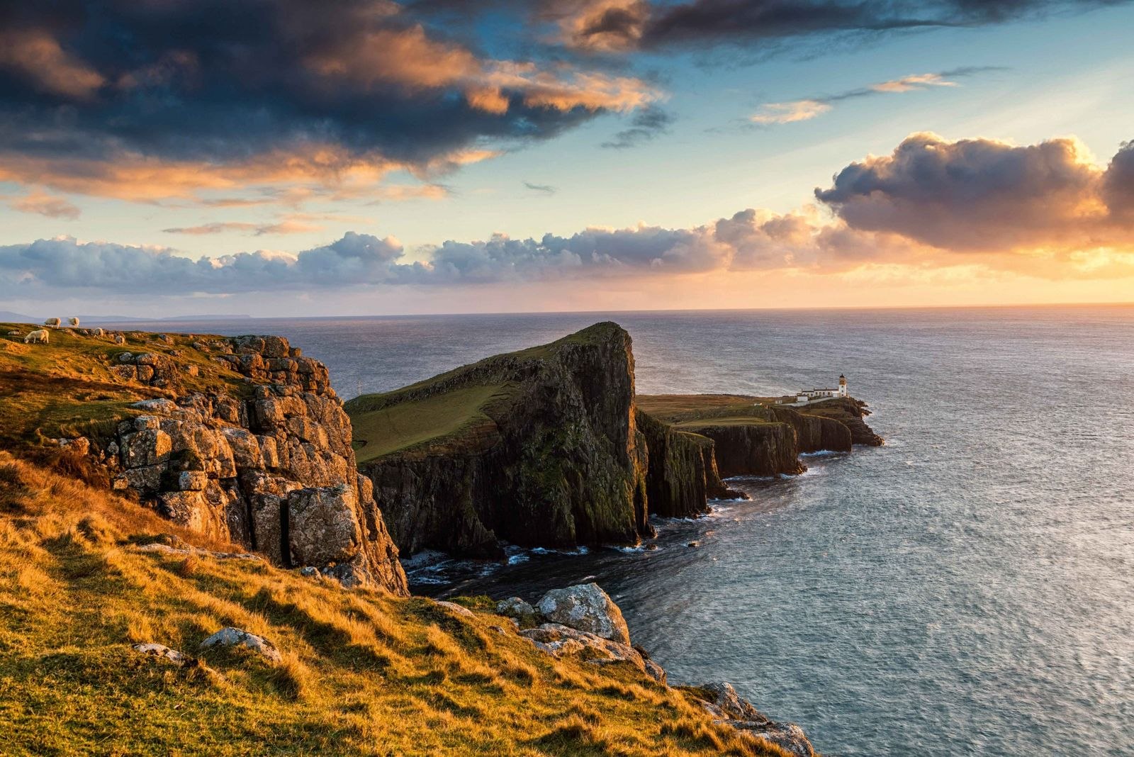 Neist Point Lighthouse at sunset, Isle of Skye, Scotland.