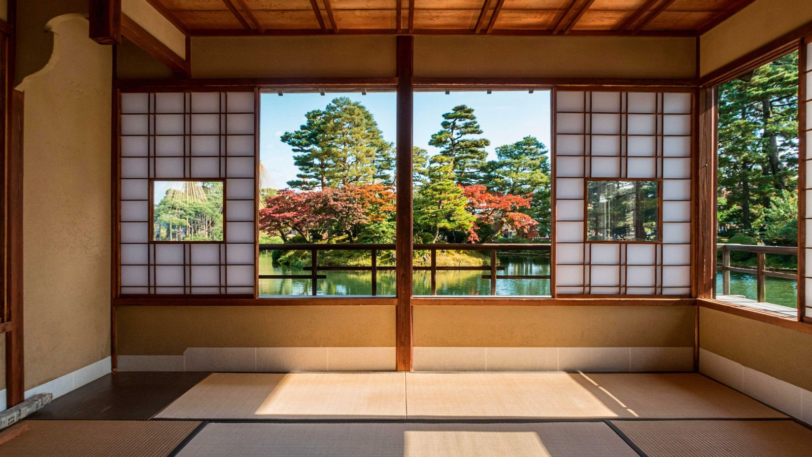 Tea house interior at Kenrokuen Gardens in Kanazawa,  a city backed by mountains and fronted ...
