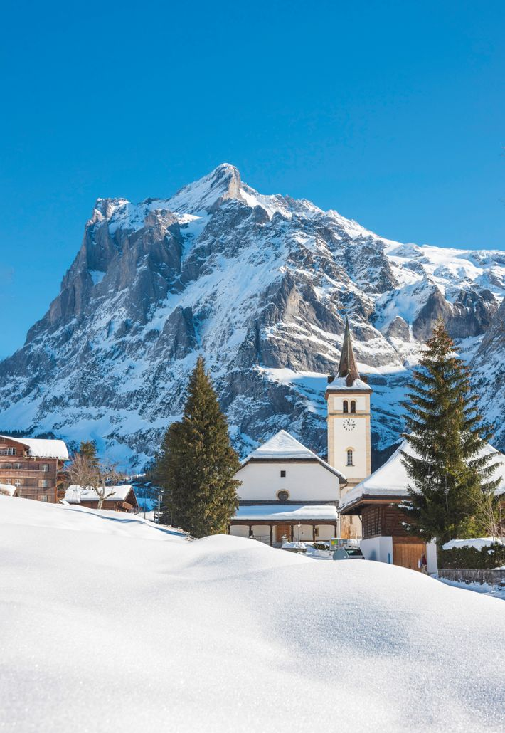 Grindelwald and Wetterhorn, Jungfrau Region, with grandstand views of Eiger, a ferocious fang of a mountain.