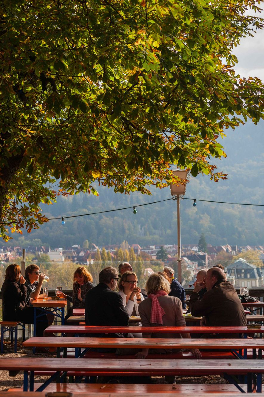 The Schlossburg mountain-top beer garden is a well-loved by visitors and locals alike in Germany's Baden-Württemberg ...