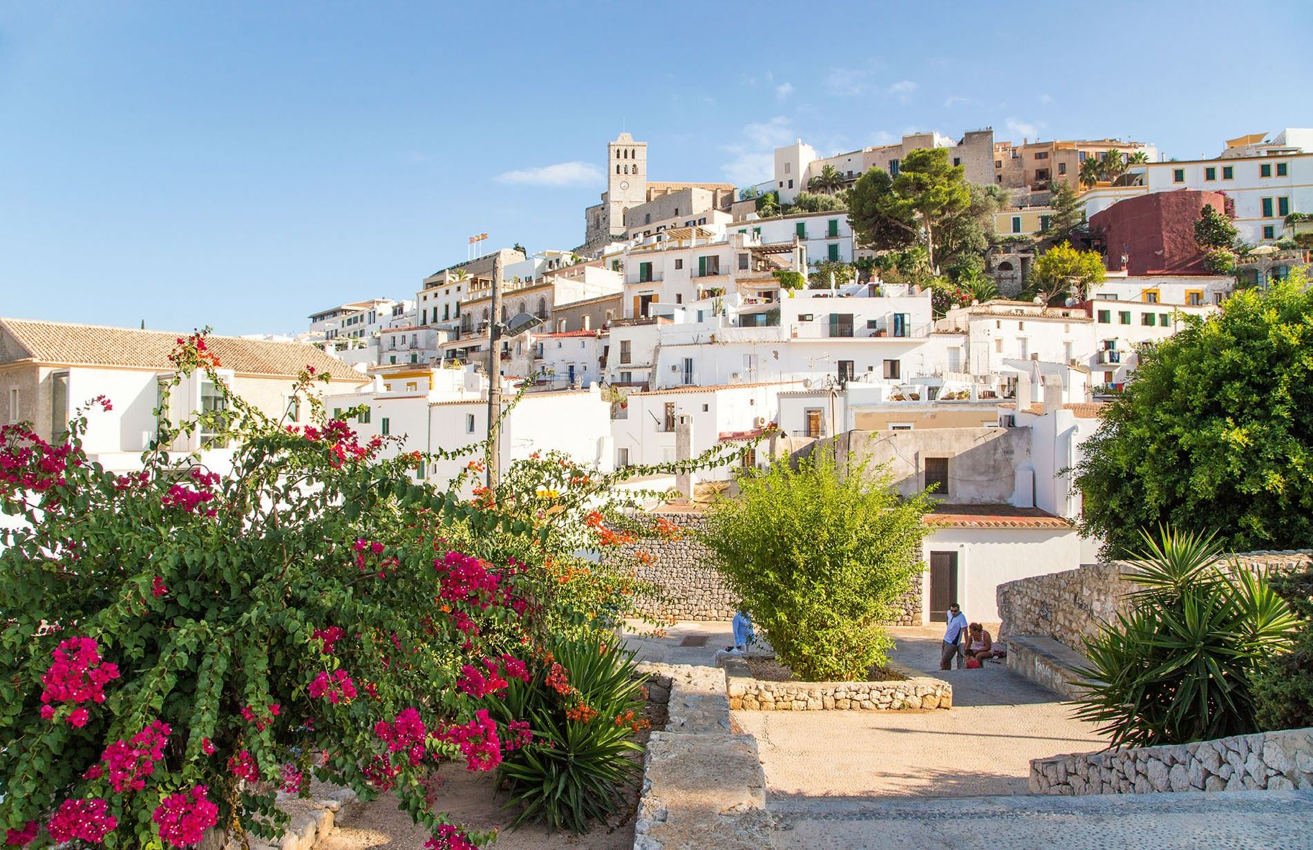 Ibiza's old town, known as Dalt Vila, is a maze of white-painted houses flushed pink with bougainvillea.