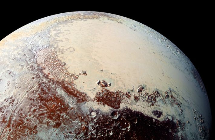 New Horizons captured the first images of this pearly section of Pluto's surface, called Sputnik Planitia. ...