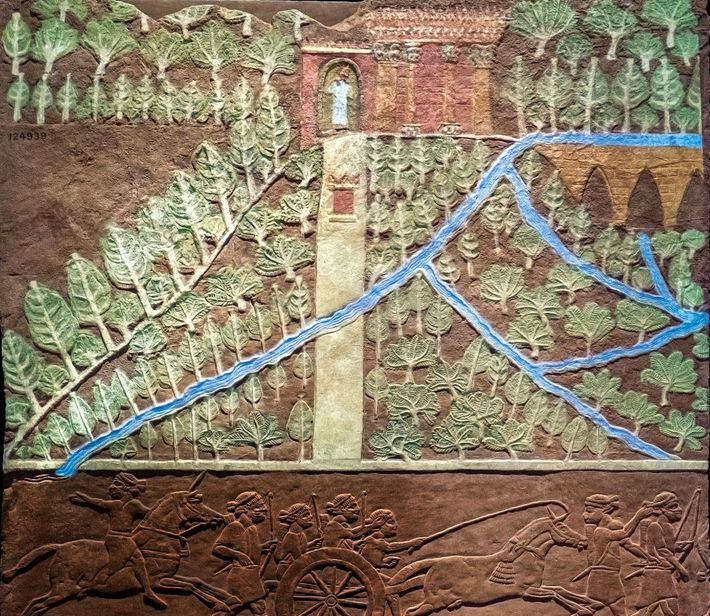 The British Museum in London houses this intriguing relief from Nineveh depicting a lush, abundantly irrigated ...