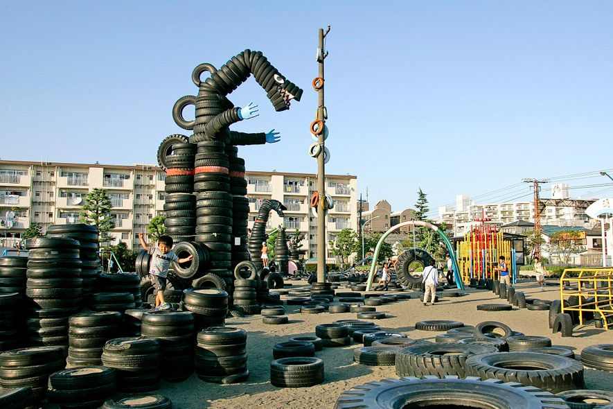 Tokyo's Nishi Rokugo Park was created from more than 3,000 rubber tires recycled from the nearby ...
