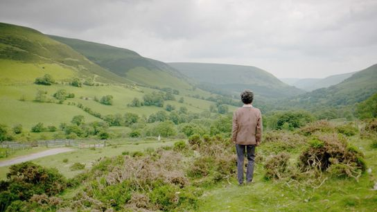 Elizabeth Chatwin, widow of Bruce, looks over the landscape of South Wales that was the setting for Chatwin's novel ...