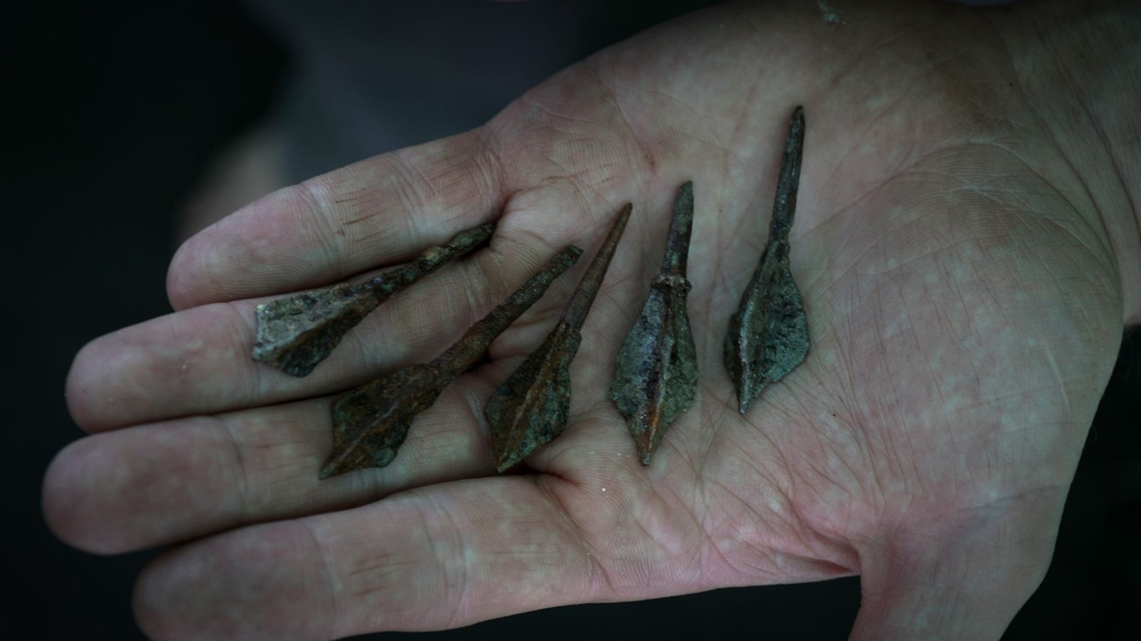 Five iron arrowheads from Burial 33 in the Tunnug 1 graveyard. They were likely stored in ...