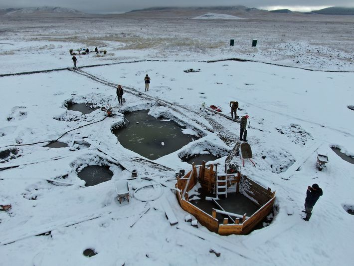 A partial view of the Tunnug 1 cemetery on the Siberian steppe. Archaeologists worked through autumn ...