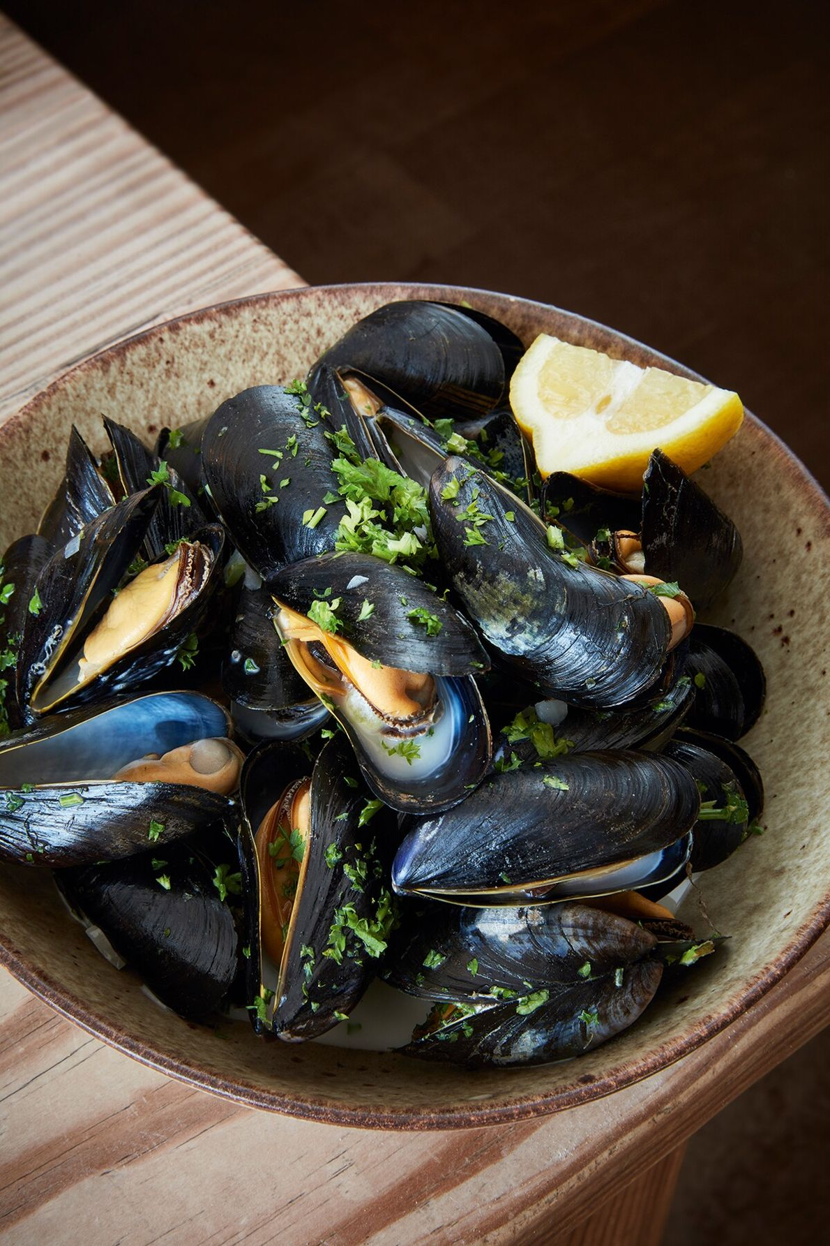 Moules marinière served at The White Horse in Brancaster Staithe. The village is synonymous with shellfish, ...