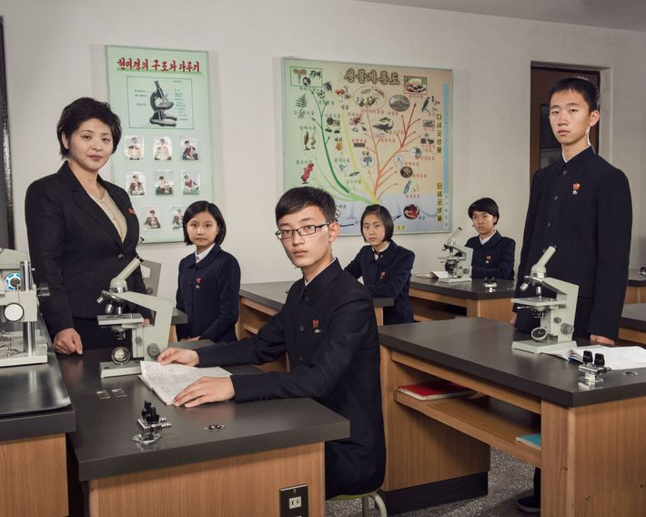 Gifted students attend class at Pyongyang No. 1 Senior-Middle School, which was founded in 1984. There ...