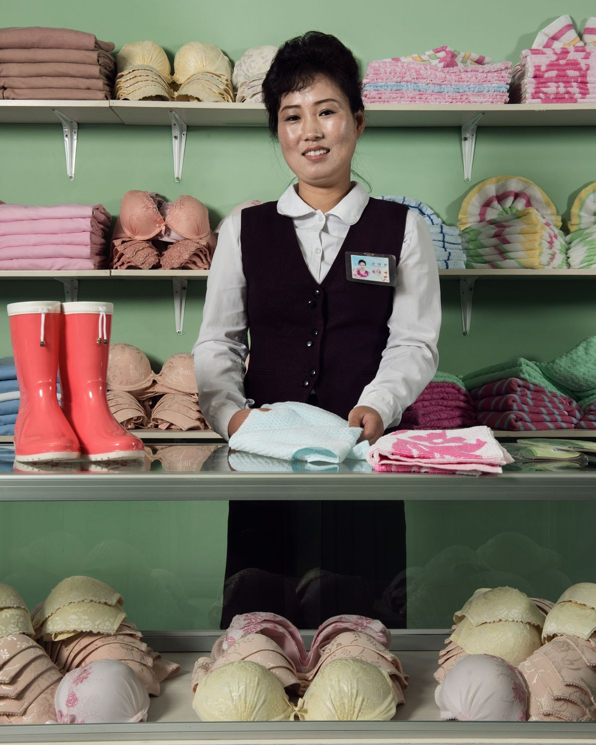 In the employee shop of the country's largest textile factory, workers can buy undergarments and other ...