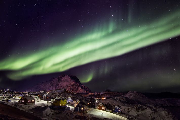 The Northern Lights over Sisimiut, the second-largest city in Greenland.