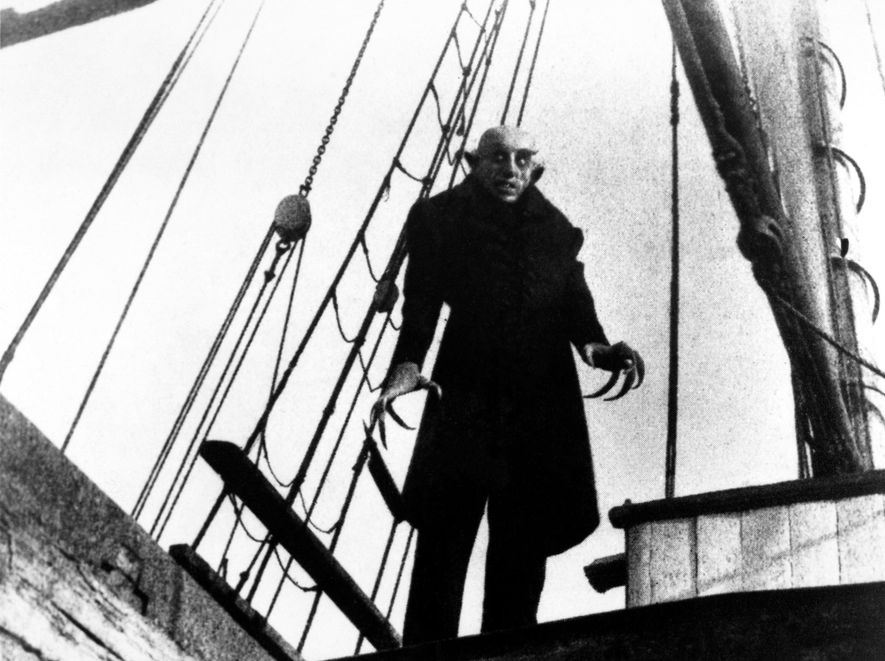 The 1922 silent film  Noseferatu, an unauthorized adaption of Bram Stoker's  Dracula, starred actor Max Schrek as Count Orlock, whose appearance resembles to vampires from eastern European folklore.