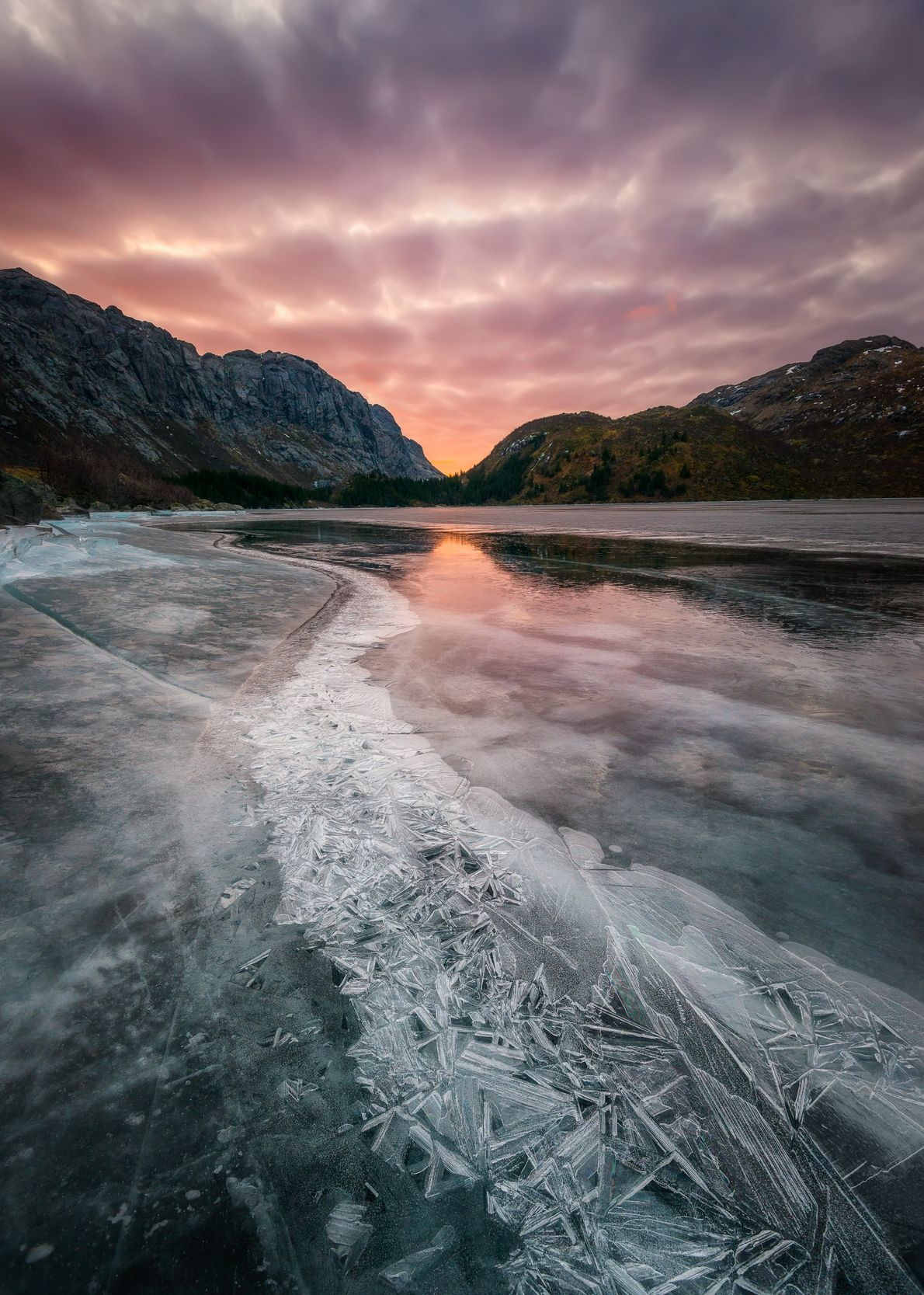 Ice on Storvatnet lake, close to Nusfjord, Lofoten – photographed after an extended cold and dry ...